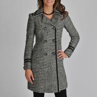 Ivanka Trump Womens D/B Woold Blend Tweed Coat with Tape Trim