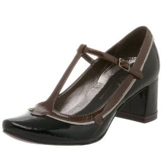 Oh Shoes Salsa T strap Pump,Black/Brown,8.5 M Shoes