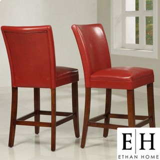 ETHAN HOME Charlotte Faux Leather Counter height Chairs (Set of Two