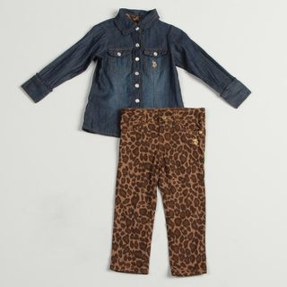 US Polo Toddler Girls 2 piece Denim Buttton Up Leopard Print Pants