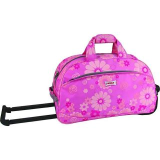 World Pink Flowers 20 inch Rolling Duffel Bag