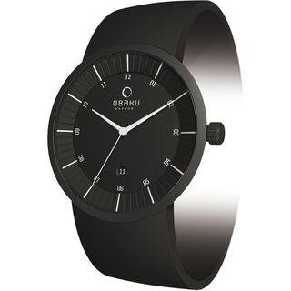 Obaku Mens V121GBBVB Black Leather Black Dial Quartz Watch