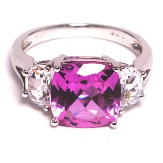 10k White Gold Created Pink Sapphire and Cubic Zirconia Ring  Size 7
