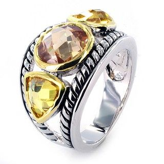 Silvertone Champagne and Golden Topaz Crystal Ring