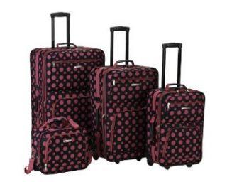 Rockland Luggage 4 Piece Luggage Set, Black/Pink Dot, One