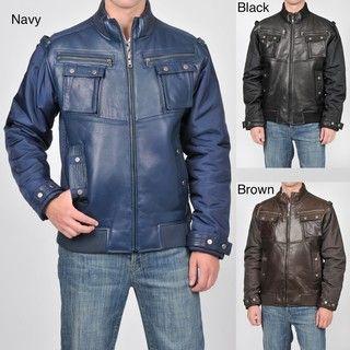 Knoles & Carter Mens Leather Bomber Jacket