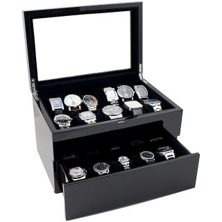 High Gloss Piano Black Glasstop 20 watch Case