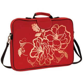 Fuji Depot 17.3 Inch Red Camellia Handled Laptop Sleeve