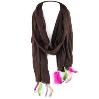 Brown   Poka Dot Feather Charm Tassel   Jeweled Scarf   70 Clothing