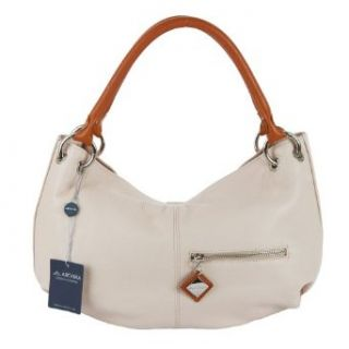 ARCADIA Italian Made Light Beige Leather Designer Hobo Bag