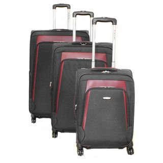 Dejuno Alliance Black 3 piece Expandable Spinner Luggage Set