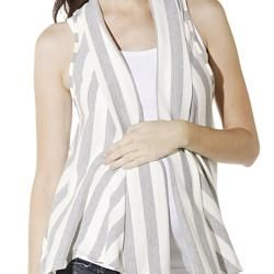 Lilac Clothings Womens Maternity Grey Striped Sleeveless Cardigan