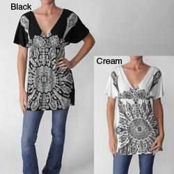 Funky People Womens High Waist V neck Tunic Top