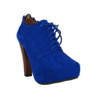 Blue Suede Lace Up Oxford Ankle Booties Size 7.0 (Puffin34) Shoes