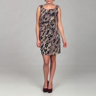 Connected Apparel Womens Printed Chiffon Dress