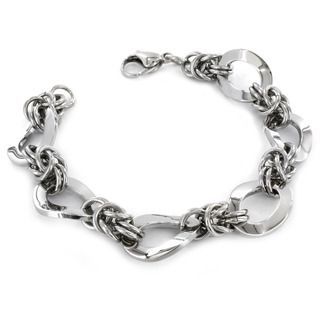Stainless Steel Interlocking Oval Twist Chain Link Bracelet
