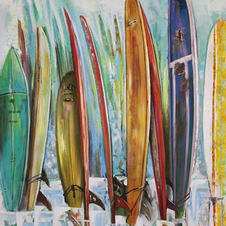 Art in Style Surfboards in a Row Hand Painted Wall Art