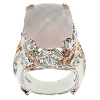 Michael Valitutti Two tone Rose Quartz Ring