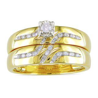 Miadora 10k Yellow Gold 1/6ct TDW Diamond Bridal Ring Set (H I, I2 I3