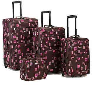 Rockland Deluxe Chocolate 4 piece Expandable Luggage Set
