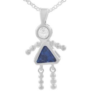 Tressa Sterling Silver Girl Birthstone Pendant