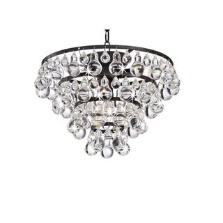 Tranquil Antique Copper 4 Light Chandelier with Smooth Crystals