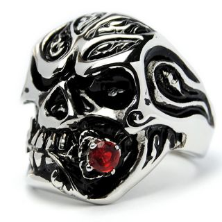 Stainless Steel Red Cubic Zirconia Cast Skull Ring