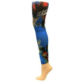 Royal Blue Multi Color Tattoo Footless Leggings Tights