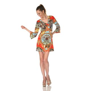 White Mark Womens Florence Red Mix Print Dress