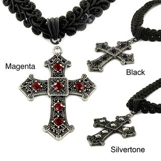 Silvertone and Black Fabric Resin Cross Choker Necklace