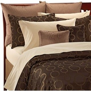 Chocolate/ Gold Art Deco Circle 12 piece Bed in a Bag with Sheet Set