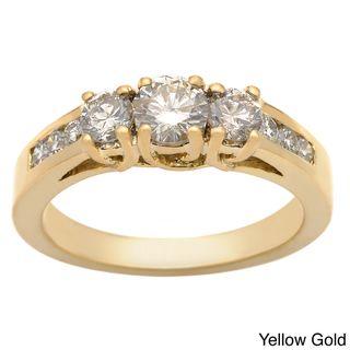 14k Gold 1ct TDW Round Diamond 3 stone Engagement Ring (K, I1 I2