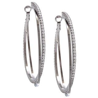 Morgan Ashleigh Gunmetal plated Glass Double Hoop Earrings