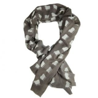 Sophia Costas Ultra Soft Light Brown Wool Scarf with White
