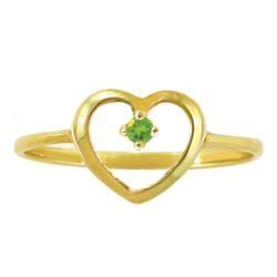 10k Gold August Birthstone Peridot Petite Designer Heart Ring