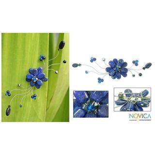 Stainless Steel Blue Bouquet Lapis Lazuli Brooch (Thailand