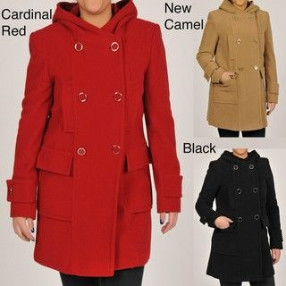 Larry Levine Womens Double Breasted Hooded Wool Coat