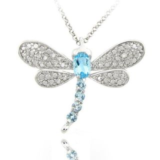 Sterling Silver Blue Topaz and Diamond Accent Dragonfly Necklace