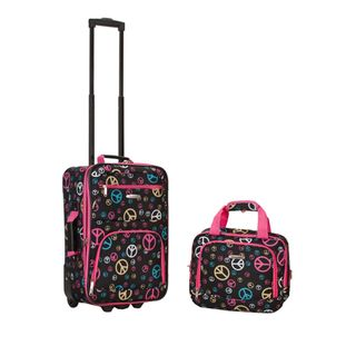 Rockland Expandable Peace Sign 2 piece Lightweight Carry on Luggage