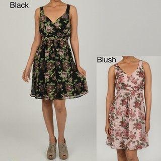 Jonathan Martin Womens Black and Blush Floral Print Dress