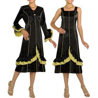 Divine Apparel Womens Black/ Light Olive A line Dress Suit