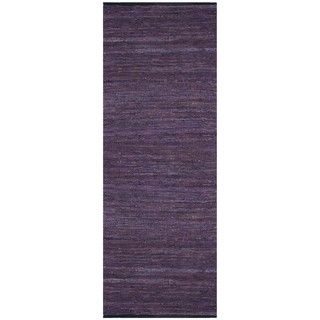 Hand woven Matador Purple Leather Rug (26 x 12)