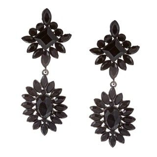 Morgan Ashleigh Gunmetal plated Black Glass Starburst Earrings