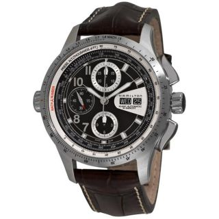 Hamilton Mens Khaki X Mach Brown Strap Automatic Chronograph Watch