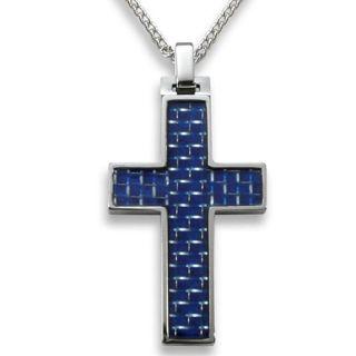Mens Tungsten Carbide Blue Carbon Fiber Inlay Cross Necklace
