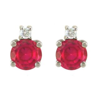 10k Gold July Birthstone Created Ruby and Diamond Stud Earrings