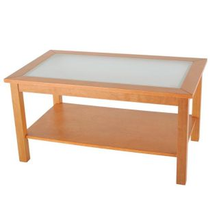 Bay Shore Collection Glass Top Honey Maple Coffee Table