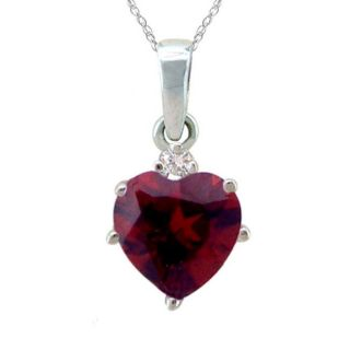 10k Gold January Birthstone Garnet and Diamond Heart Necklace