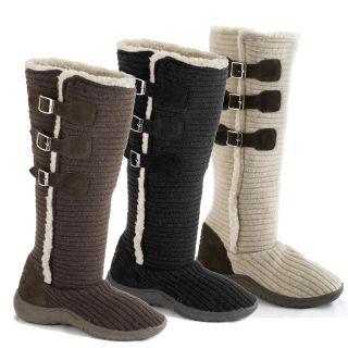 Muk Luks Womens Horizontal Knit Buckle Boots