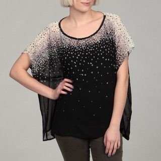 Romeo & Juliet Womens Short sleeve Sheer Dots Blouse
